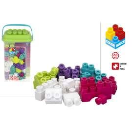 construcciones para niños juego construcción cubo 50 piezas maxi color block
