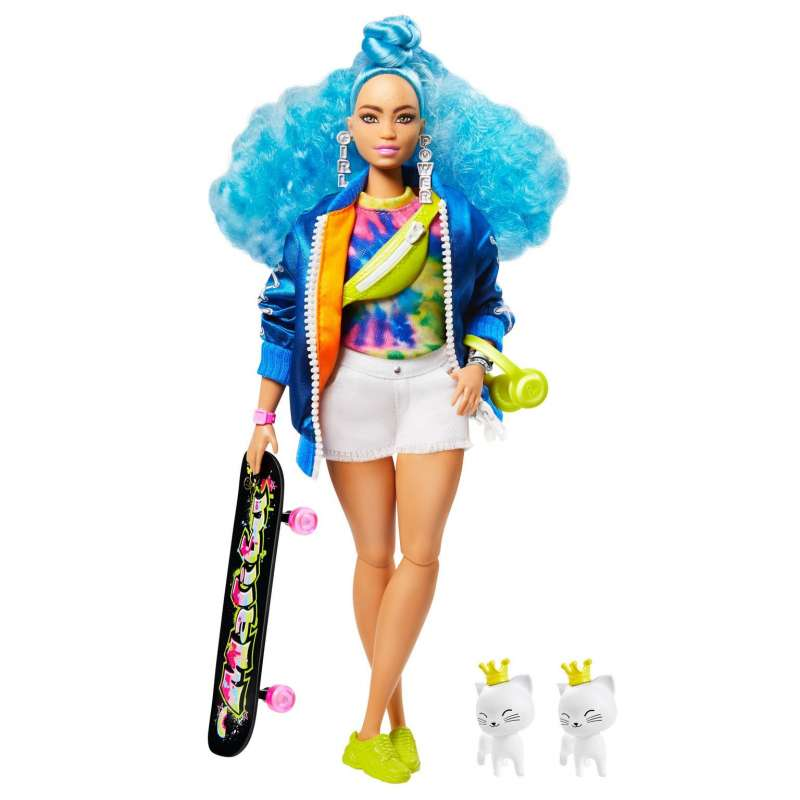 barbie extra muñeca articulada con pelo azul rizado, accesorios de moda y mascotas (mattel grn30)
