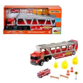 matchbox camión de transporte con accesorios, almacena coches de juguete, para niños +3 años (mattel gwm23)