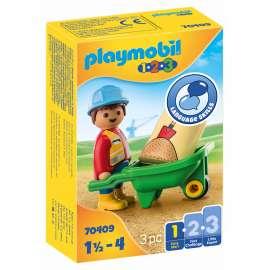 playmobil 1.2.3. obrero con carretilla