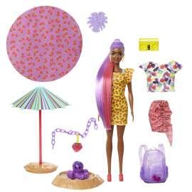 barbie color reveal con espuma fresa, muñeca sorpresa con vestido y accesorios de moda de verano de juguete (mattel gtn18)