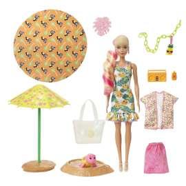 barbie color reveal con espuma piña, muñeca sorpresa con vestido y accesorios de moda de verano de juguete (mattel gtn17)