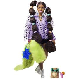 barbie extra muñeca afroamericana articulada con coletas burbujas, accesorios de moda y mascota (mattel gxf10)